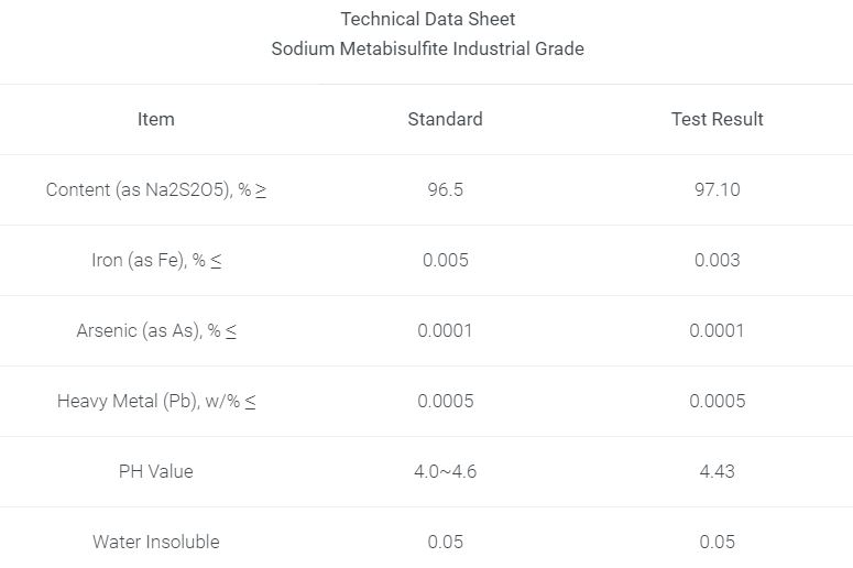 Sodium Metabisulfite Solution Industrial Grade Technical Data Sheet